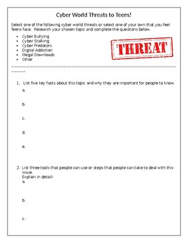 Cyber World Threats to Teens