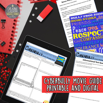 Cyberbully Movie Viewing Guide, Digital and Printable, Distance Learning