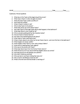 Cyberbully Movie Questions Student Handout
