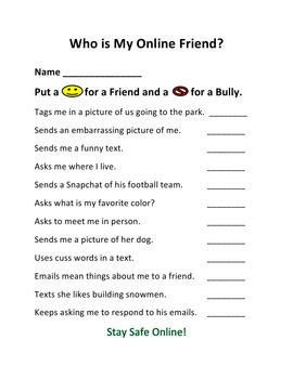 Cyberbullying – Who Is My Friend?  For K - 5th Grades