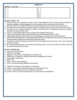 Cyberbullying and Depression - Reading Comprehension Worksheet