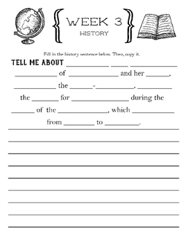 Cycle 2 History Fill-In Notebook ALL WEEKS (use w/ Classical Conversations)
