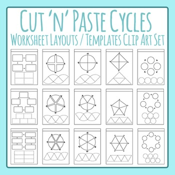 Cycle Worksheet Templates / Layouts - Cut and Paste Clip Art Commercial Use