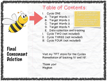 Cycles : Final Consonant Deletion