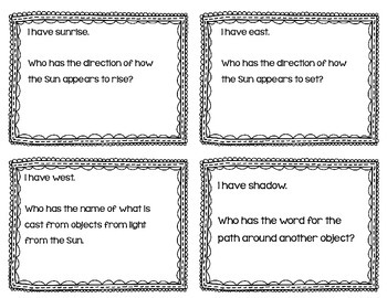 """Cycles & Patterns In Space Interactive Vocabulary Game """"I Have, Who Has?"""" Cards"""