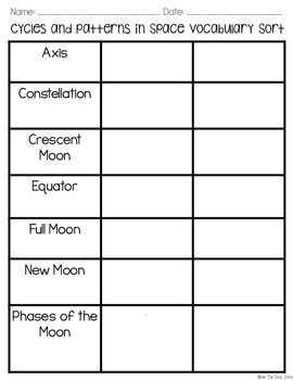 Cycles & Patterns in Space Vocabulary Sort