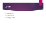 Cycles - Water, Carbon, Nitrogen