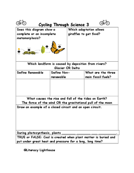 STAAR SCIENCE Weekly Review Packet 1: Cycling Through Science