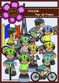 Cycling - Tour de France Digital Clipart (color and black&white)