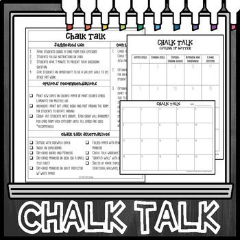 Cycling of Matter Chalk Talk Task Cards