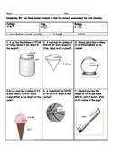 Cylinder, Cone, and Sphere Volume Worksheet
