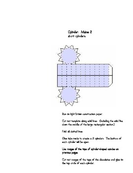 Cylinder & Cube Candy Templates: Hands-on 3D Shapes, Common Core Math KG4B