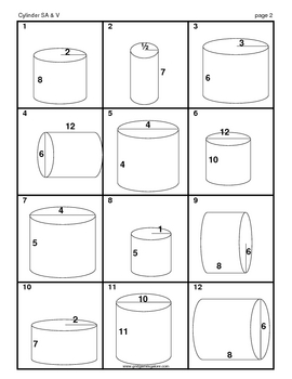 Cylinder Surface Area and Volume MatchingMania
