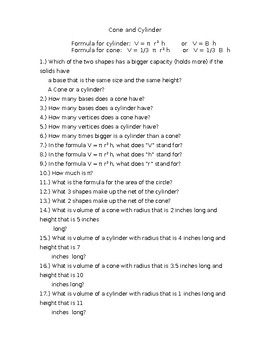 Cylinder and Cone Formulas