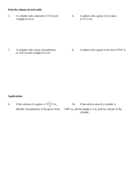 Cylinder and Spheres Surface Area & Volume Worksheet