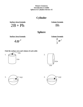 cylinder and spheres surface area volume worksheet 2 - Surface Area And Volume Worksheet