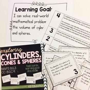 Cylinders, Cones & Spheres Task Cards