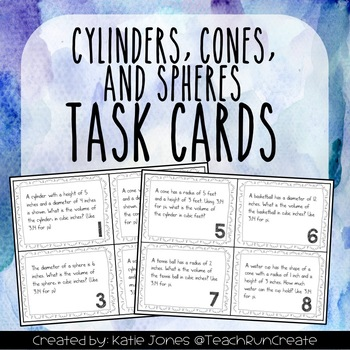 Cylinders, Cones & Spheres Task Cards