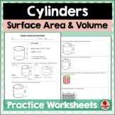 Cylinders Surface Area and Volume Practice Geometry