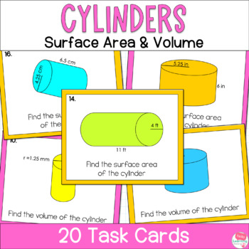 Cylinders- Volume and Surface Area- Task Cards