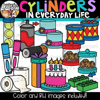 Cylinders in Everyday Life Clipart {Geometry Clipart}