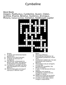 Cymbeline Crossword