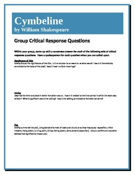 Cymbeline - Shakespeare - Group Critical Response Questions