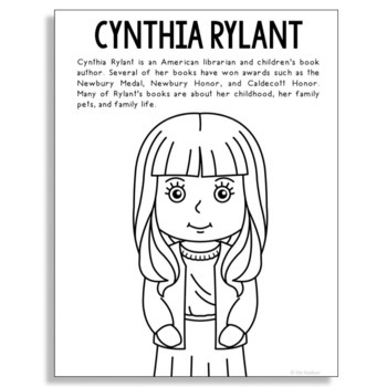 Cynthia Rylant Famous Author Informational Text Coloring Page Craft