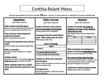 Cynthia Rylant Menu: Appetizer, Main Course and Dessert