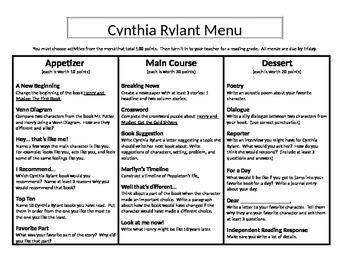 Cynthia Rylant Menu: Appetizer, Main Course and Dessert (2)