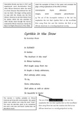 Cynthia in the Snow Poetry Worksheet