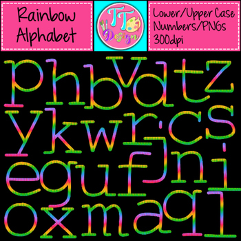 Cynthia's Rainbow Alphabet Upper Lower Numbers Clip Art CU OK