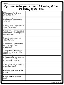 Cyrano de Bergerac Act 2 Reading Guide and Comprehension Questions, Drama