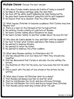 Cyrano de Bergerac Act 4 Reading Guide, Comprehension Questions, Drama