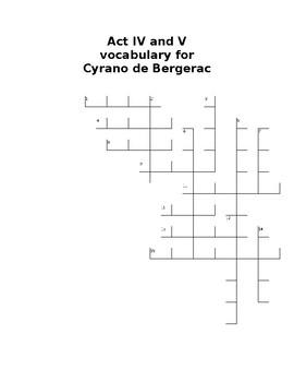 Cyrano de Bergerac Act 4 and 5 vocabulary crossword puzzle