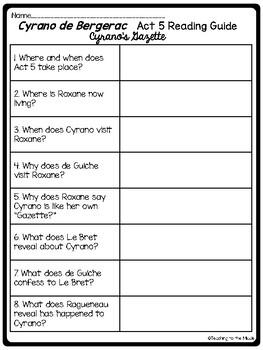 Cyrano de Bergerac Act 5 Reading Guide, Comprehension Questions, Drama