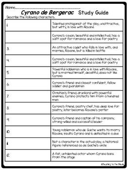 Cyrano de Bergerac Final Test, 48 questions + paragraph, Drama, Study Guide