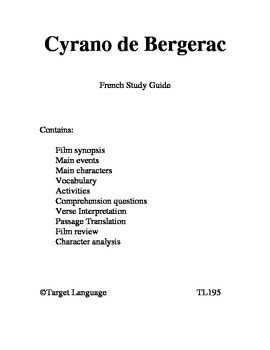 Cyrano de Bergerac-French Study Guide