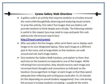 Cyrano de Bergerac Gallery Walk: Writing and Image Analysis Activity