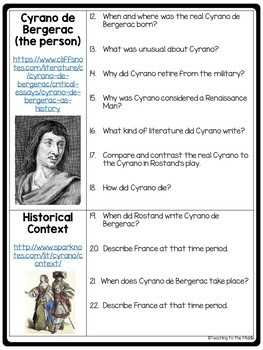 Cyrano de Bergerac Historical Background Webquest; 17th Century France, Rostand