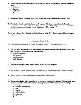 Cyrano de Bergerac Test Review Worksheet