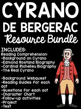 Cyrano de Bergerac Unit Plan, Comprehension Worksheets, Reading Guide