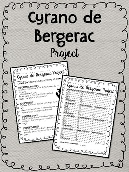Cyrano de Bergerac final project, cumulative, drama, 4 choices, rubric provided