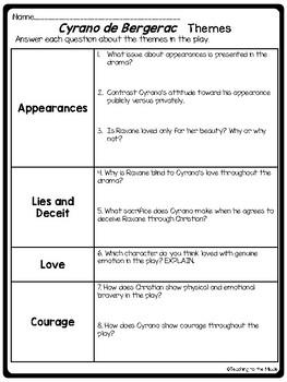 Cyrano de Bergerac themes, symbols, analysis, writing task