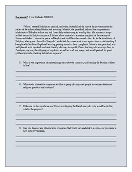 Cyrus The Great Document Based Questions