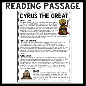 Cyrus the Great Reading Comprehension Worksheet, Mesopotamia, Persian Empire