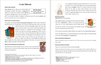 Cystic Fibrosis - Science Reading Article - Grades 5-7