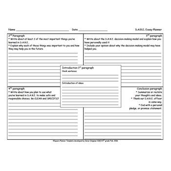 D.A.R.E. Essay 4 Square Planner