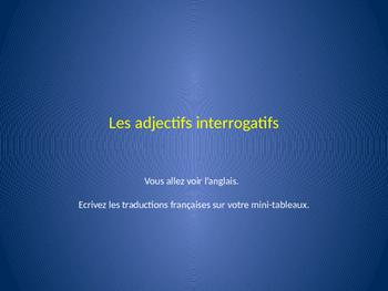 works w/ D'Accord 1 Unit 4A : activity w/ interrogative adj. & vocab