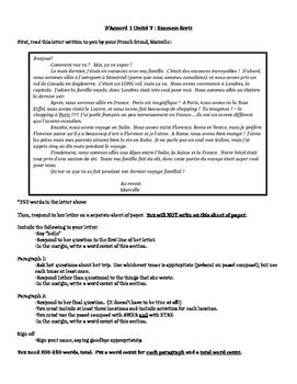 works w/ D'Accord 1, Unit 7 : writing test using MYP criteria